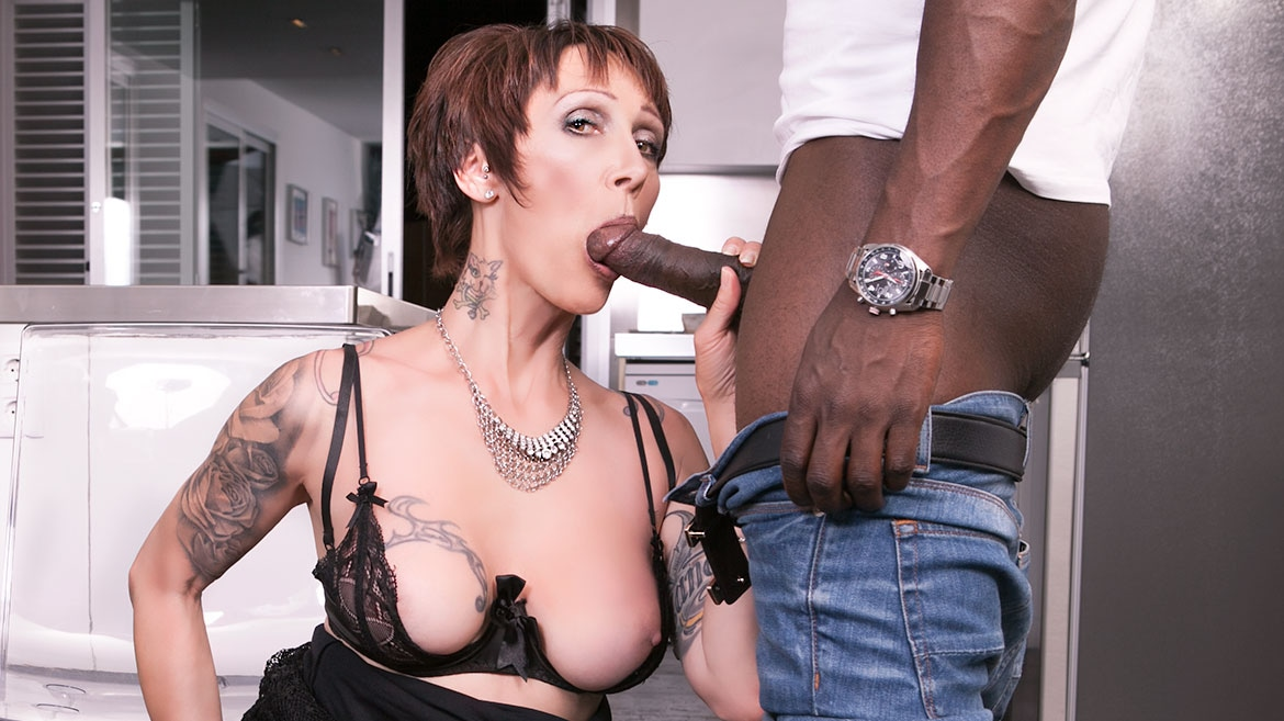 Mature MILF Tastes her First Black Cock