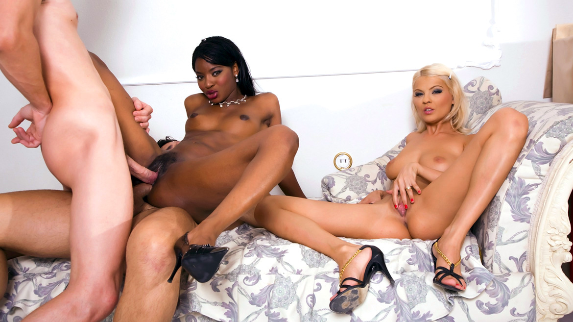 Black Beauty Jasmine and Jasmine Rouge in a Xmass Anal Orgy