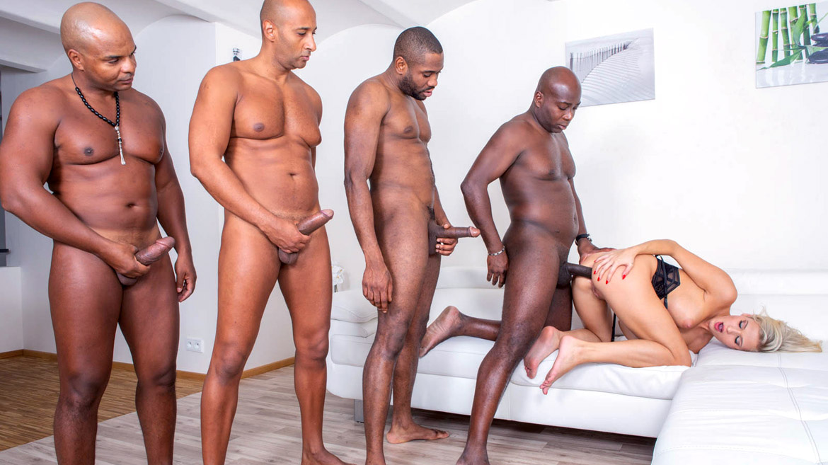 Blonde Nympho Takes on 4 Studs