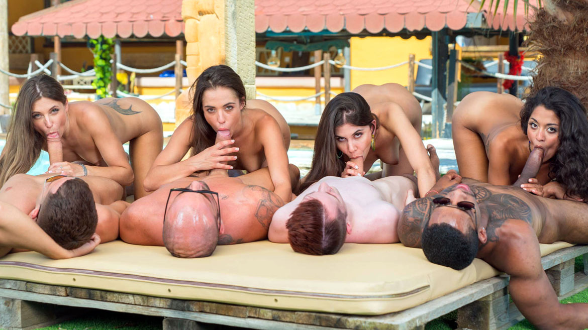Interracial Orgy by the Pool