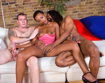 Private  porn video:  Lala, Sexy Ebony Girl in an Interracial Threesome
